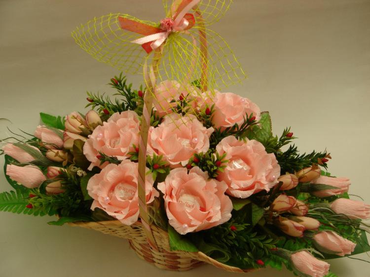 Корзина из роз и конфет