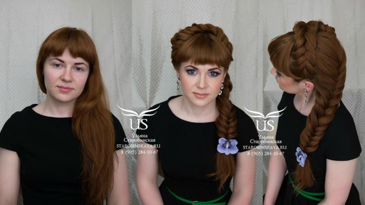 Прически на косах с челками на средние волосы фото