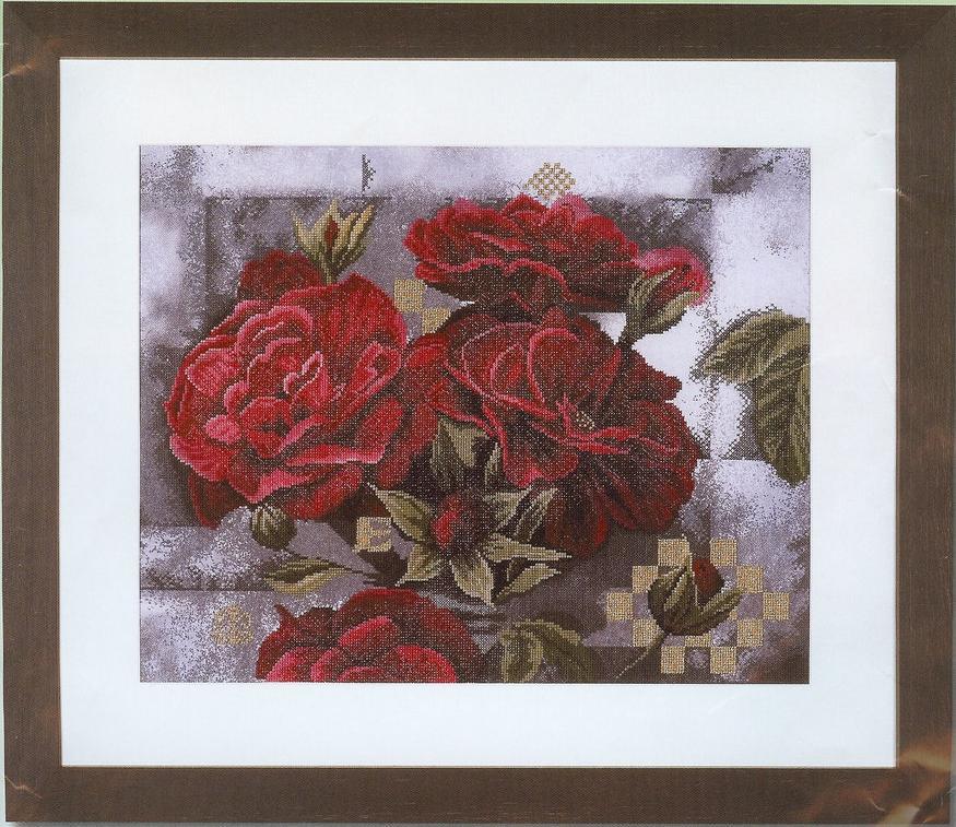 Cхема вышивки крестом Красные розы на чёрном.