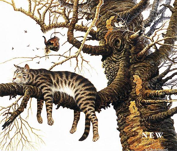 """Предпросмотр - Схема вышивки  """"Кот на ветке """" - Схемы автора  """"torik """" - Вышивка крестом."""